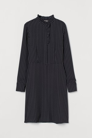 Ruffled-collar Dress - Blue