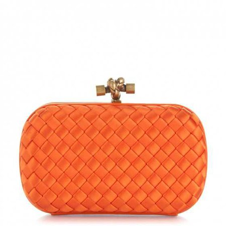 BOTTEGA VENETA Satin Intreccio Impero Knot Clutch Orange 174534