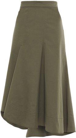 Asymmetric Cotton-blend Twill Skirt