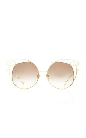 Linda Farrow Oversized Cat-Eye Metal Sunglasses
