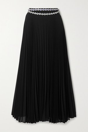 Crystal-embellished Pleated Crepe Midi Skirt - Black
