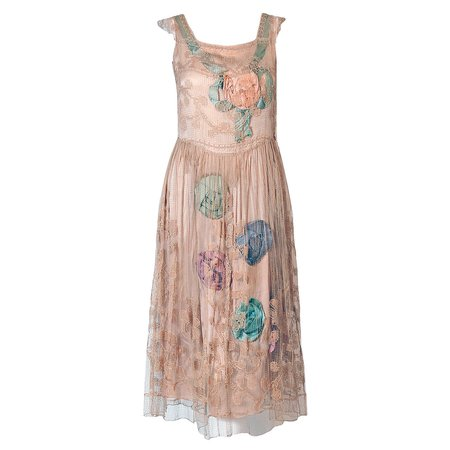 1920's Callot Soeurs Couture Attribute Silk Rosettes Filet-Lace Flapper Dress For Sale at 1stdibs