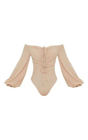 Stone Bardot Ruched Rib Bodysuit   Tops   PrettyLittleThing