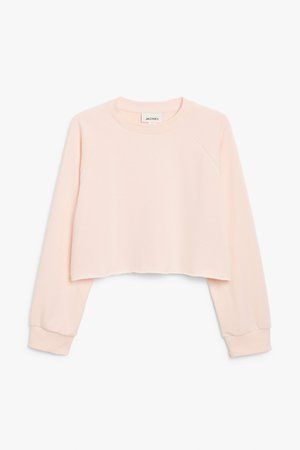 Cropped sweatshirt - Light pink - Sweatshirts & hoodies - Monki WW