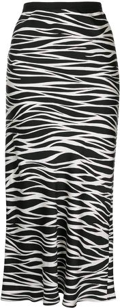 Bar silk zebra print skirt