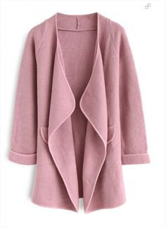 Just Knitted Open Coat in Pink - ChicWish