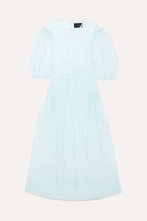 Pintucked Tulle Midi Dress - Blue
