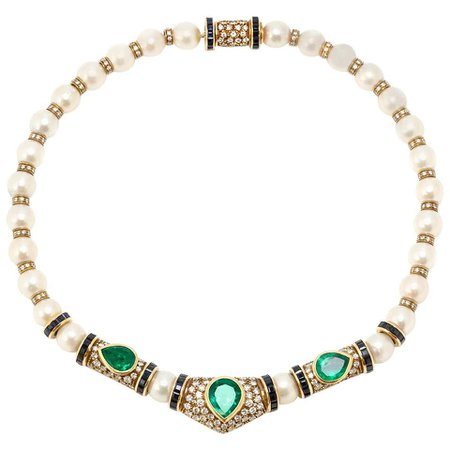 Pearl Diamond Emerald Necklace For Sale at 1stDibs