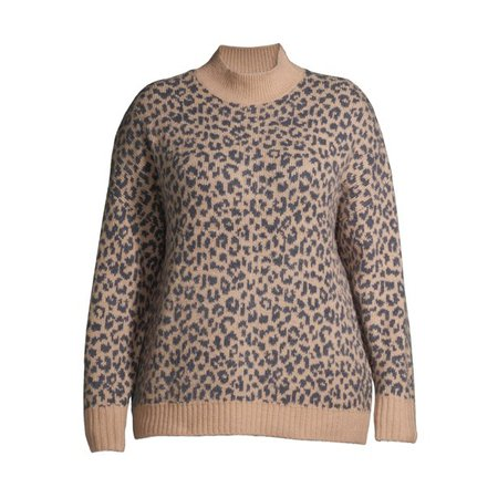 Terra & Sky - Terra & Sky Women's Plus Size Mockneck Animal Print Pullover Sweater - Walmart.com - Walmart.com
