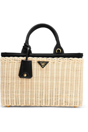 Prada  large leather-trimmed canvas and wicker tote