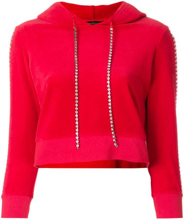 Swarovski embellished velour hoodie