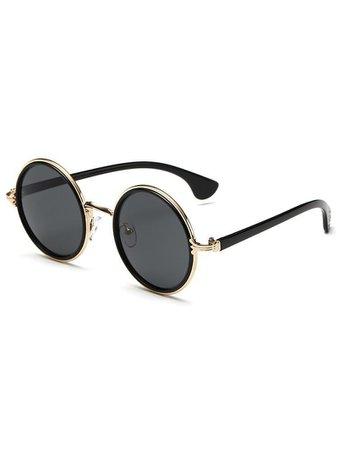 Metal Frame Round Lens SunglassesFor Women-romwe