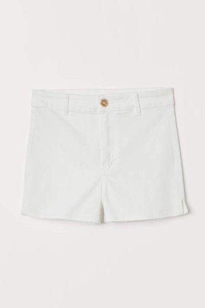 Twill Shorts High Waist - White