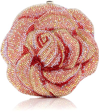 Couture Crystal-Embellished Rose Clutch