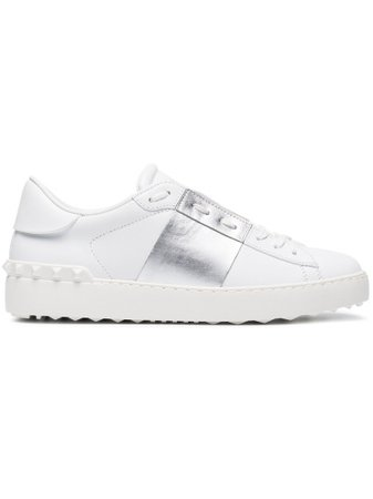 Valentino White Silver Open Rockstud Sneakers