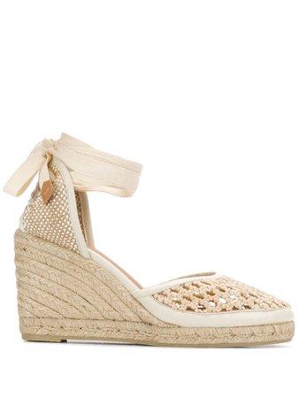 Castañer Carina Crochet Wedge Espadrilles 021805 Neutral | Farfetch
