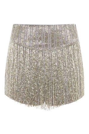 gold fringed sequin shorts