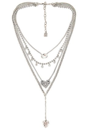 DANNIJO Ciel Lariat Layered Necklace in Silver | REVOLVE