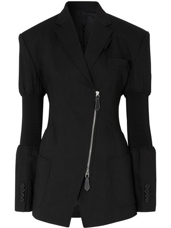 Burberry Knitted Panels single-breasted Blazer - Farfetch