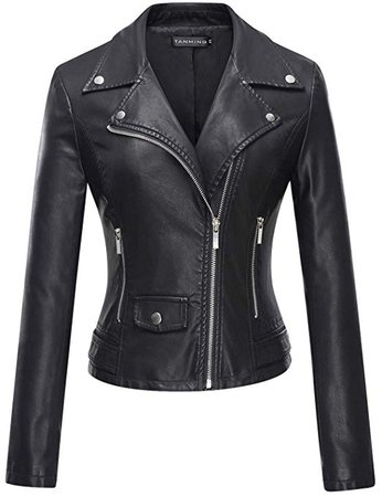 Tanming Women's Faux Leather Moto Biker Short Coat Jacket at Amazon Women's Coats Shop