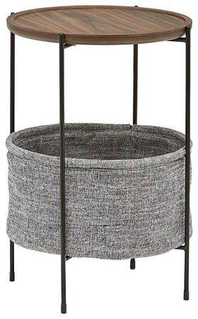 Amazon.com: Rivet Meeks Round Storage Basket Side Table, Walnut and Grey Fabric: Kitchen & Dining