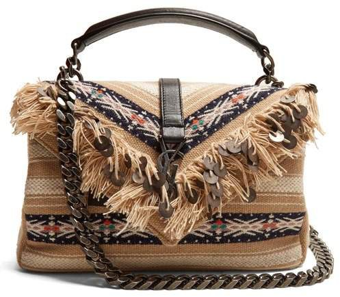 Medium College Fringed Cross Body Bag - Womens - Beige Multi