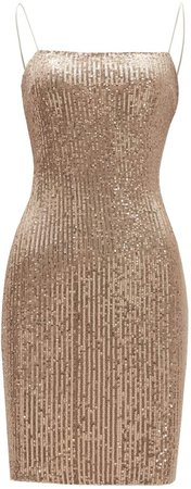 R.YIposha.Women's Sexy Strap Backless Sequin Glitter Bodycon Stretchy Mini Club Party Dress, 4/6, Golden at Amazon Women's Clothing store