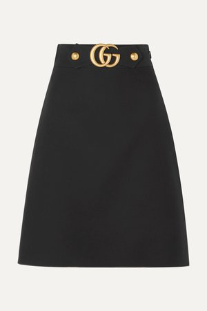 Black Embellished wool and silk-blend crepe skirt | Gucci | NET-A-PORTER