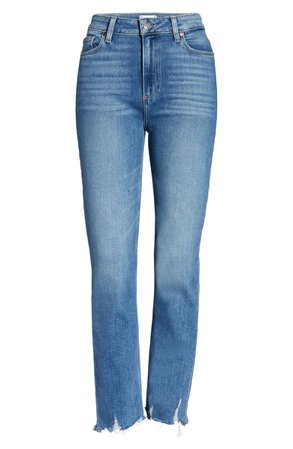 Paige Cindy High Waist Destroyed Hem Straight Leg Jeans (Mel) | Nordstrom