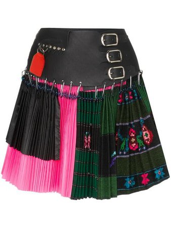 black pink leather pleated skirt