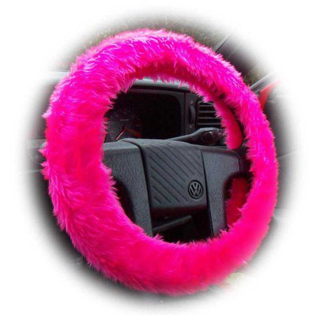 Poppys Crafts - Barbie Pink Fuzzy Car Steering Wheel Cover