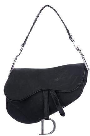 Leather-Trimmed Nylon Saddle Bag