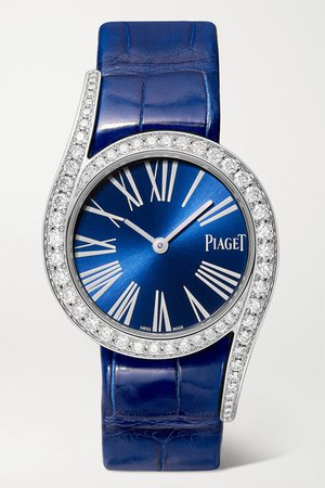 Piaget | Limelight Gala 32mm 18-karat white gold, alligator and diamond watch | NET-A-PORTER.COM