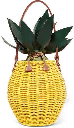 Colada Leather-trimmed Wicker Tote - Yellow