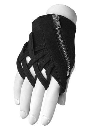 Scarab Black Viscose Gothic Gloves by Punk Rave | Gothic