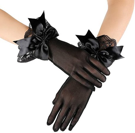 Sheer Black Gloves With Ribbon And Lace
