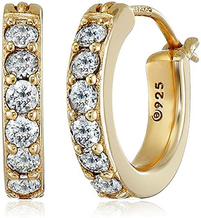"""Amazon.com: Yellow Gold Plated Sterling Hoop Earrings set with Round Cut Swarovski Zirconia (3/4 cttw), .5"""" Diameter: Clothing"""