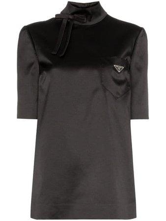 Prada High-neck Satin Logo Top - Farfetch