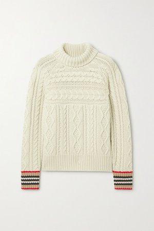 Burberry   Striped cable-knit cashmere turtleneck sweater   NET-A-PORTER.COM