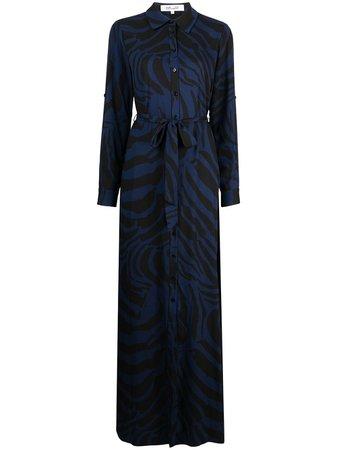 Shop black & blue DVF Diane von Furstenberg Deborah zebra midi dress with Express Delivery - Farfetch
