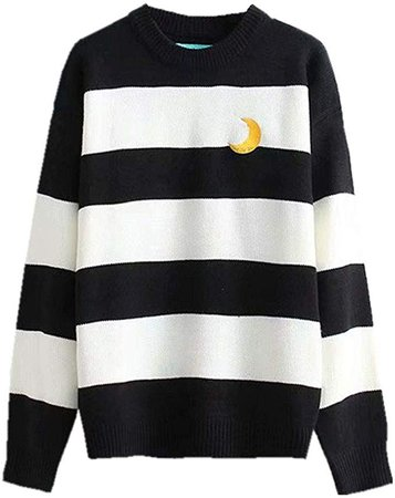 Packitcute Striped Knitted Sweater, Long Sleeve Moon Embroidery Cute Sweaters for Women (Black) at Amazon Women's Clothing store