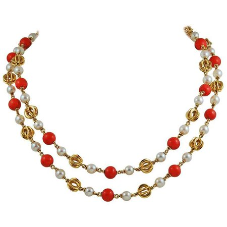Cartier Pearl and Coral Beads Long Necklace For Sale at 1stDibs
