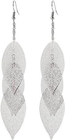 Filigree Copper Leaf Earrings Fashion Style Leaf Shape Dangle Earring Long Teardrop Dangle Drop Earrings
