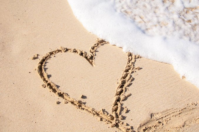 Beige Sand With Hear Engrave · Free Stock Photo