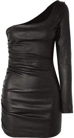 One-sleeve Ruched Leather Mini Dress - Black