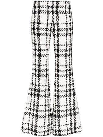 Balmain Check Tweed Flared Trousers - Farfetch