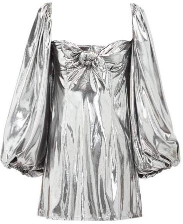 The Balloon Sleeve Lame Mini Dress - Womens - Silver