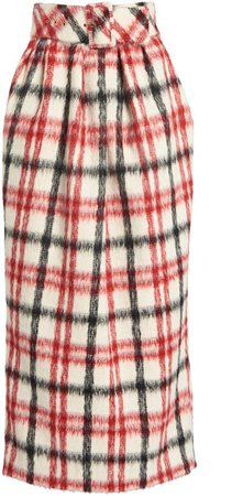 Rosie Assoulin Brushed Plaid Skirt