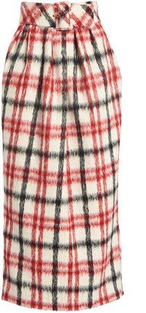 Rosie Assoulin Brushed Plaid Skirt