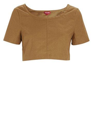 STAUD Tango Linen Cropped T-Shirt | INTERMIX®